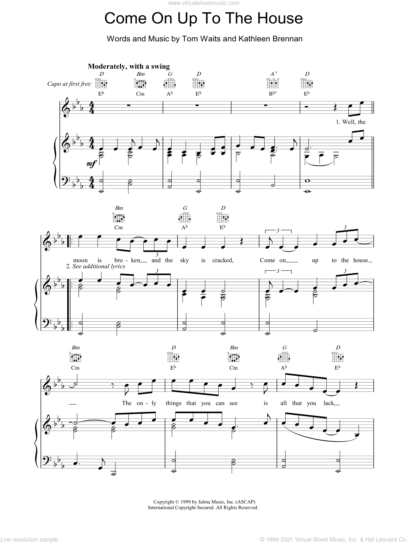 Come On Up To The House sheet music for voice, piano or guitar by Tom Waits. Score Image Preview.