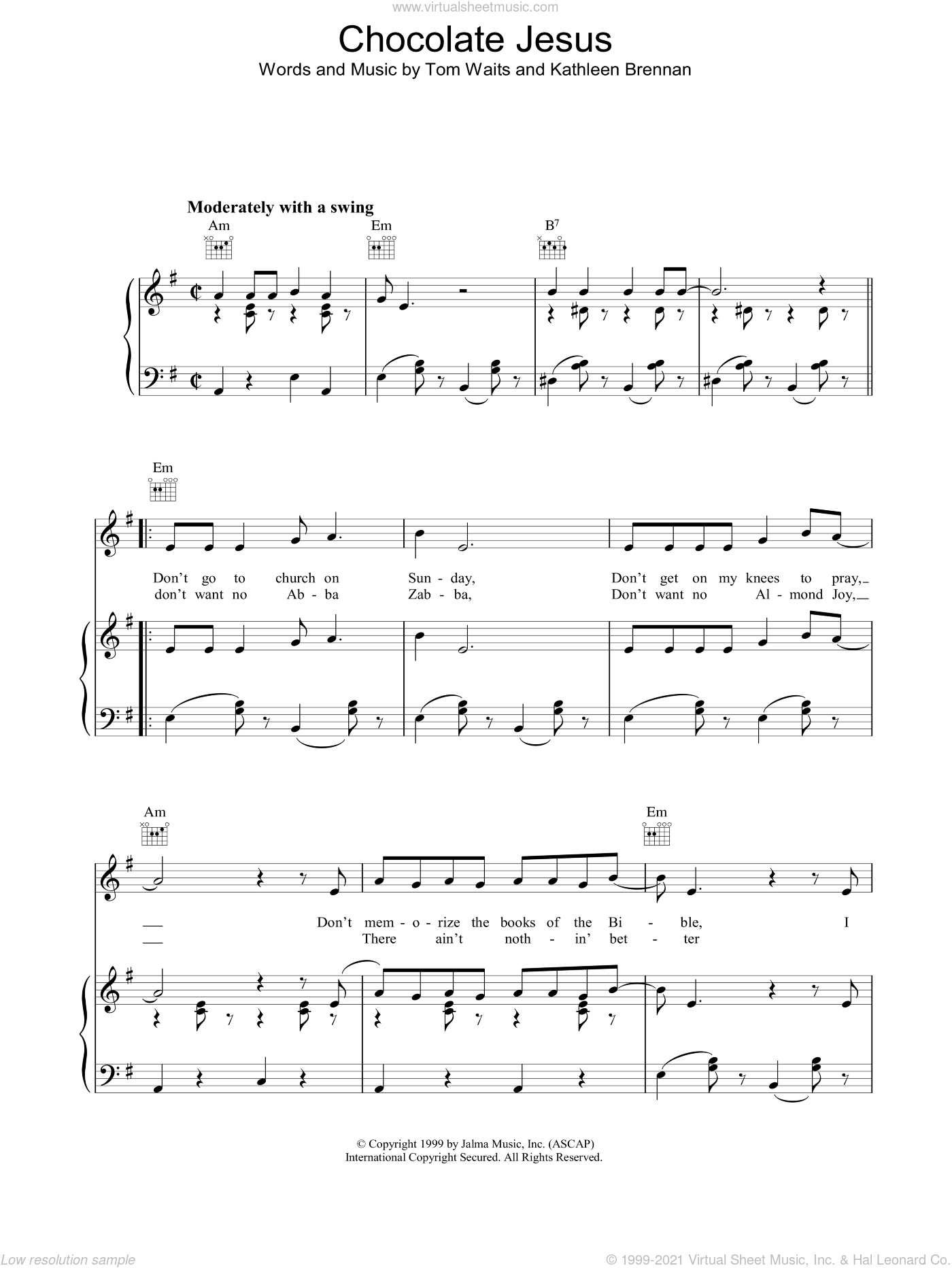 Chocolate Jesus sheet music for voice, piano or guitar by Tom Waits. Score Image Preview.
