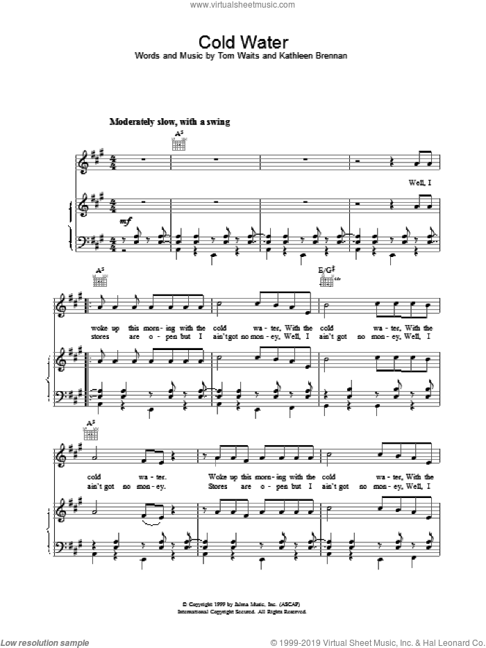 Cold Water sheet music for voice, piano or guitar by Tom Waits. Score Image Preview.