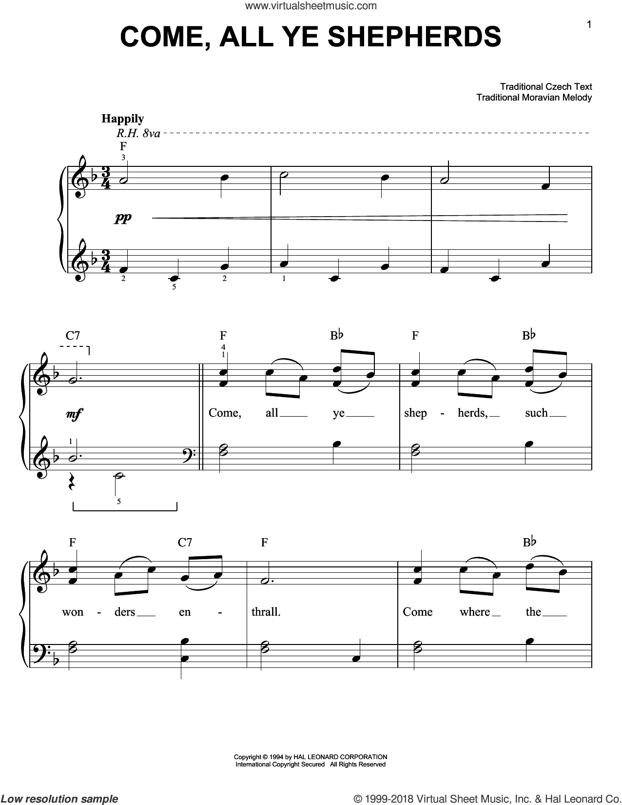 Come, All Ye Shepherds sheet music for piano solo