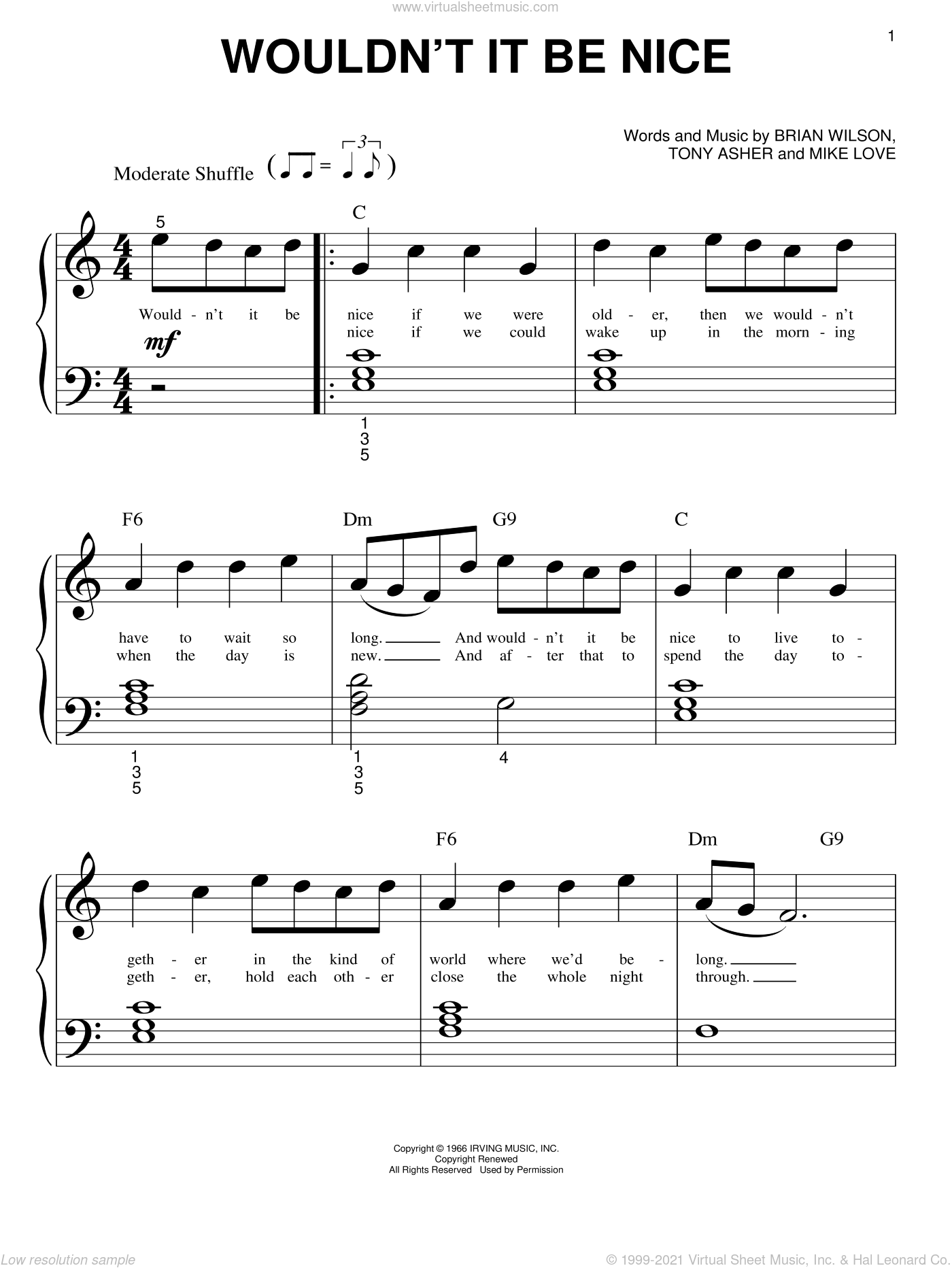 Wouldn't It Be Nice sheet music for piano solo (big note book) by The Beach Boys, Brian Wilson, Mike Love and Tony Asher, easy piano (big note book)