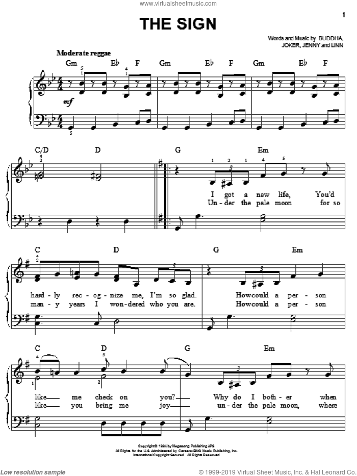 The Sign sheet music for piano solo by Jennifer Linn, Ace Of Base, Buddha and Joker