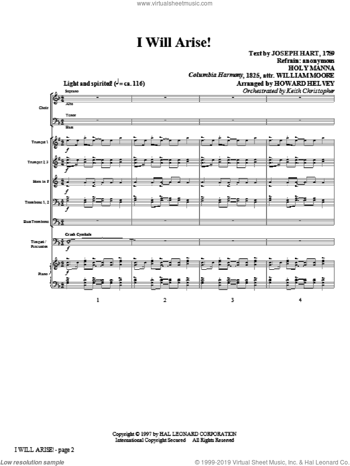 I Will Arise! (COMPLETE) sheet music for orchestra/band (Brass) by Howard Helvey and William Moore, intermediate. Score Image Preview.