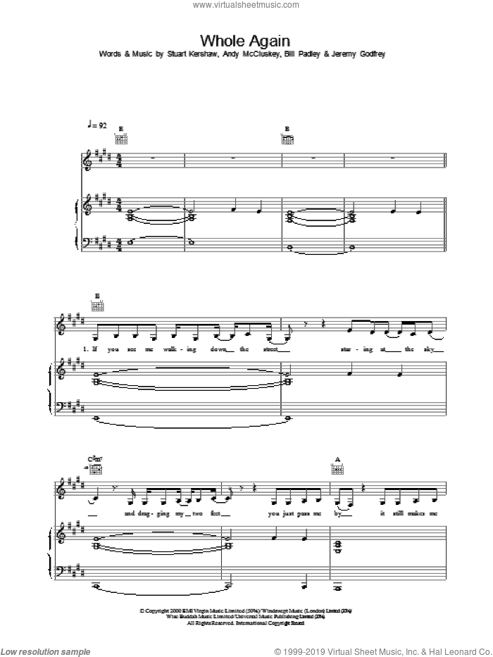 Whole Again sheet music for voice, piano or guitar by Atomic Kitten, intermediate voice, piano or guitar. Score Image Preview.
