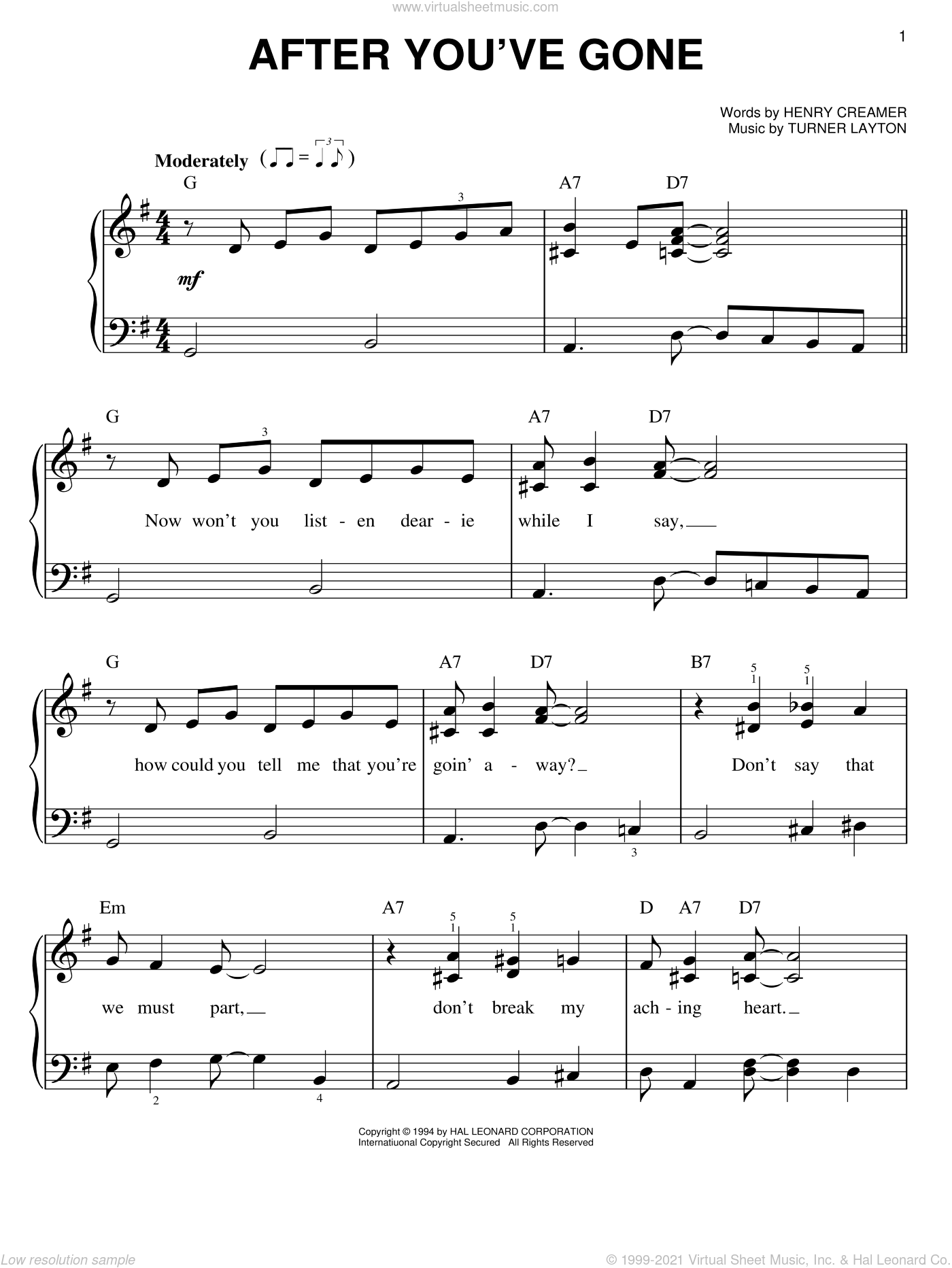 After You've Gone sheet music for piano solo by Sophie Tucker, Henry Creamer and Turner Layton, easy