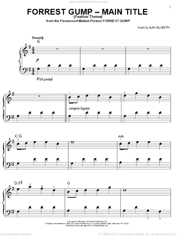 Forrest Gump - Main Title (Feather Theme) sheet music for piano solo (chords) by Alan Silvestri