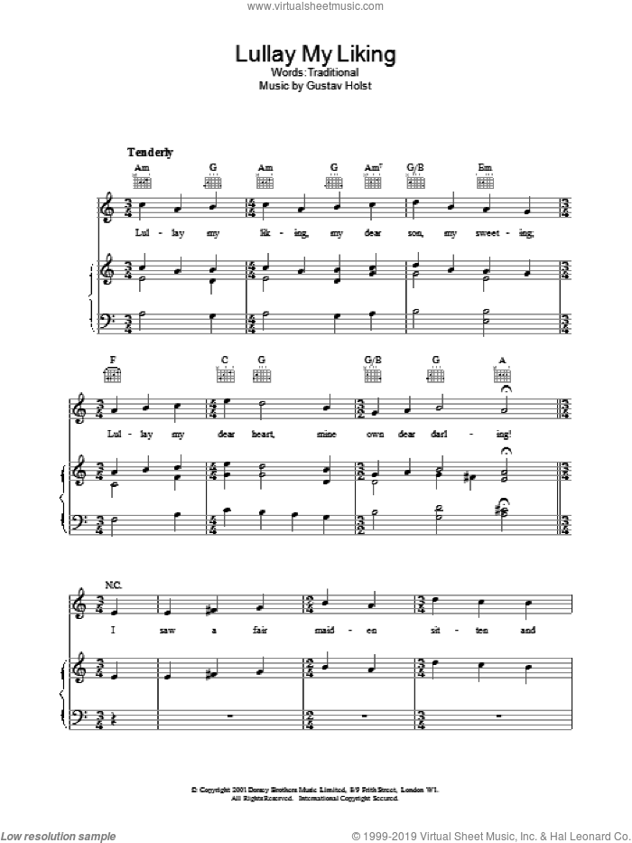 Lullay My Liking sheet music for voice, piano or guitar. Score Image Preview.