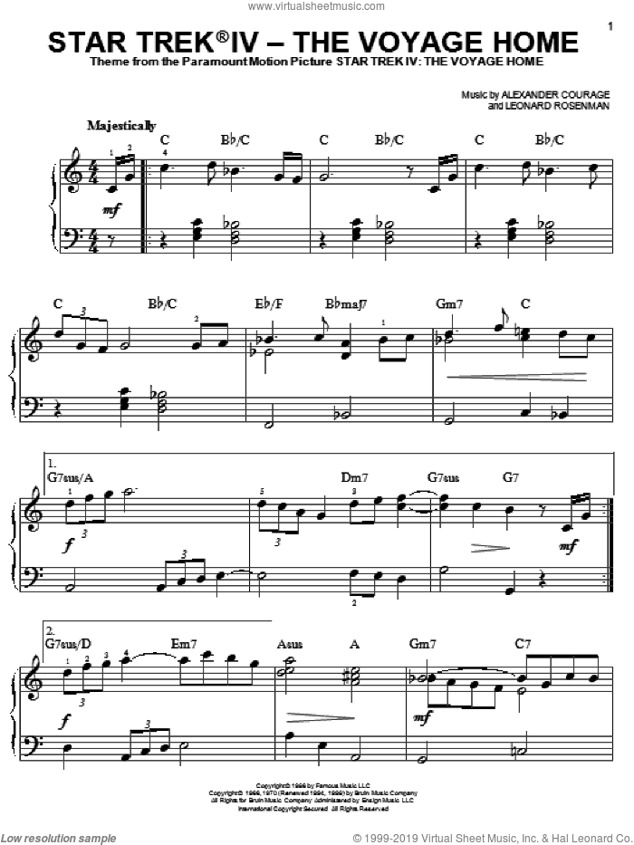 Star Trek(R) IV - The Voyage Home sheet music for piano solo (chords) by Leonard Rosenman