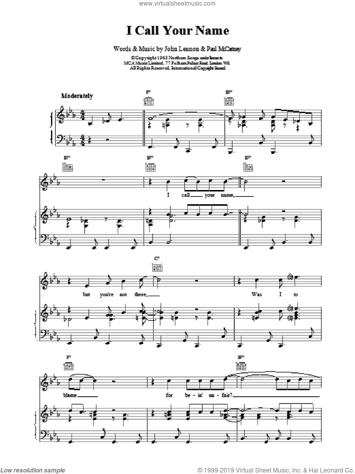 I Call Your Name sheet music for voice, piano or guitar by The Beatles