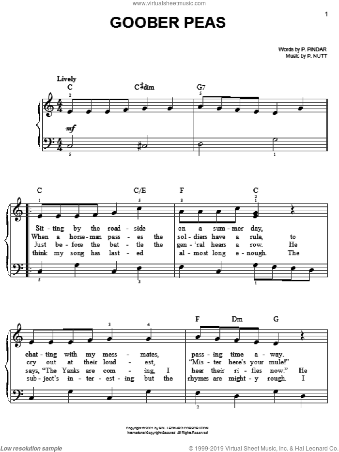 Goober Peas sheet music for piano solo by P. Nutt and P. Pindar, easy. Score Image Preview.