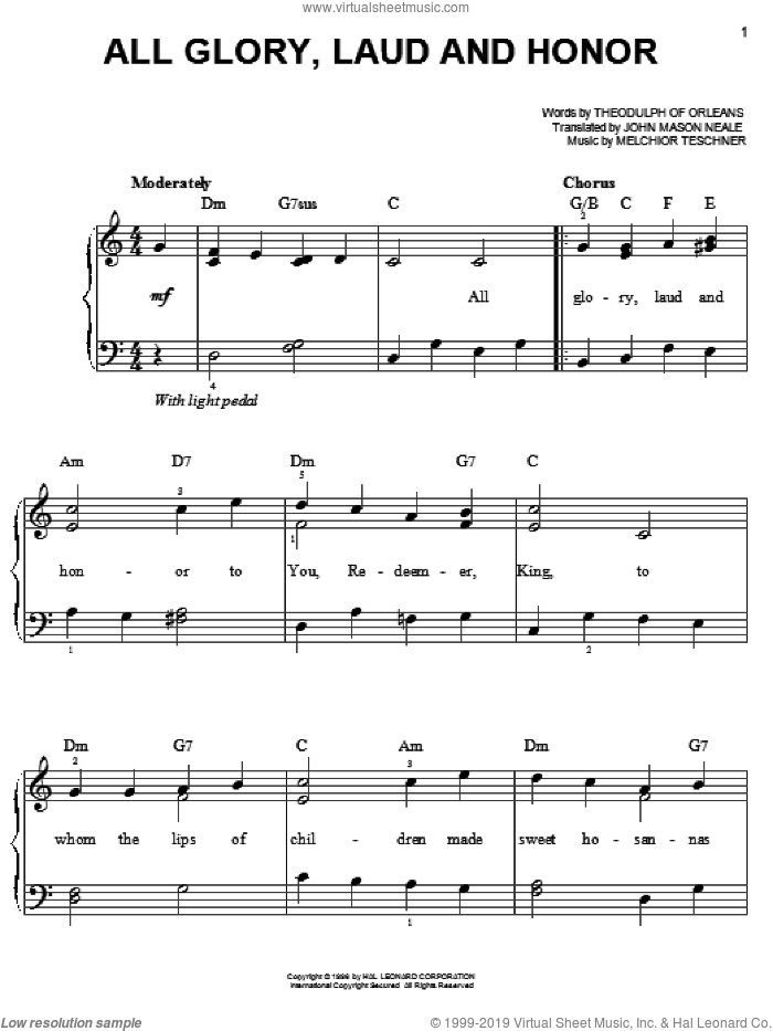 All Glory, Laud And Honor sheet music for piano solo by John Mason Neale, Melchior Teschner, Theodulph of Orleans and William Henry Monk, easy skill level