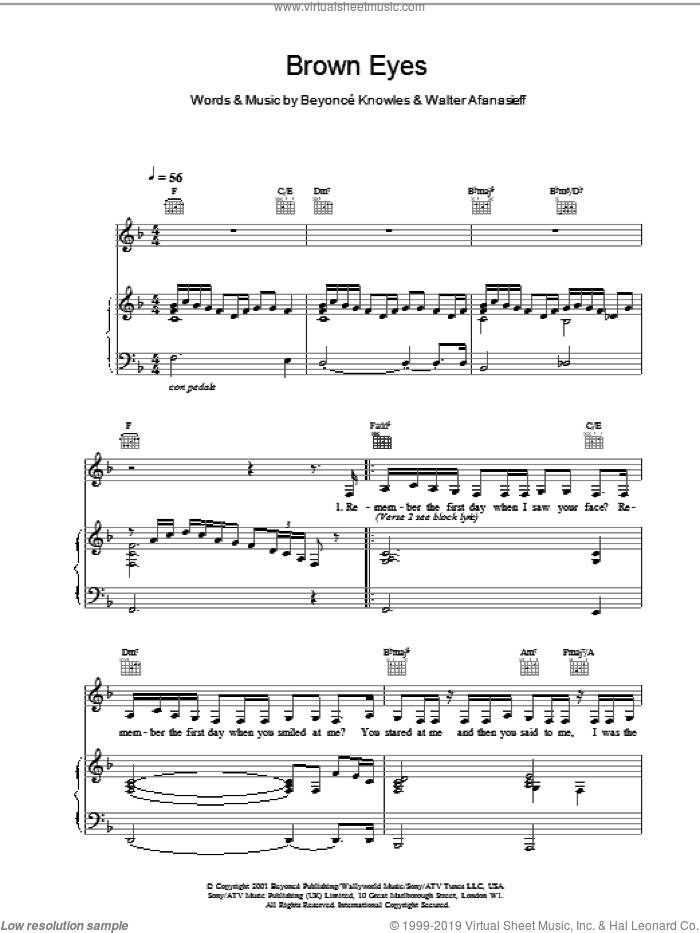 Brown Eyes sheet music for voice, piano or guitar by Destiny's Child, intermediate skill level