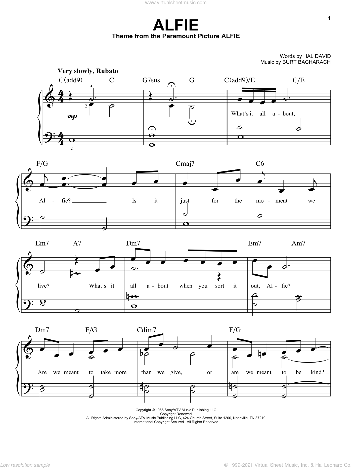 Alfie, (easy) sheet music for piano solo by Bacharach & David, Barbra Streisand, Cher, Dionne Warwick, Burt Bacharach and Hal David, easy skill level