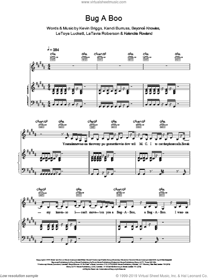 Bug A Boo sheet music for voice, piano or guitar by Destiny's Child, intermediate. Score Image Preview.
