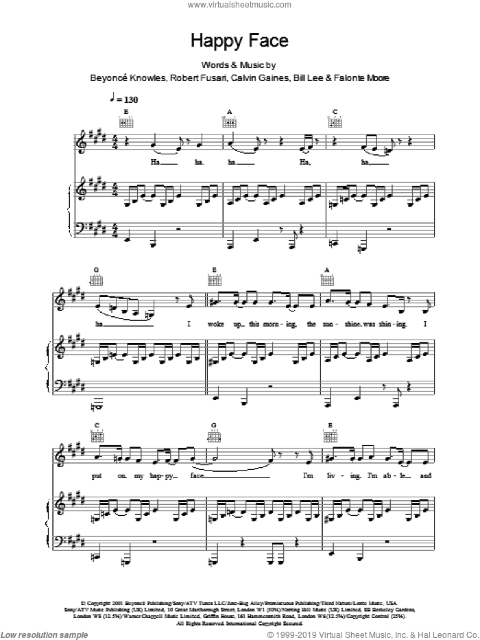 Happy Face sheet music for voice, piano or guitar by Destiny's Child. Score Image Preview.