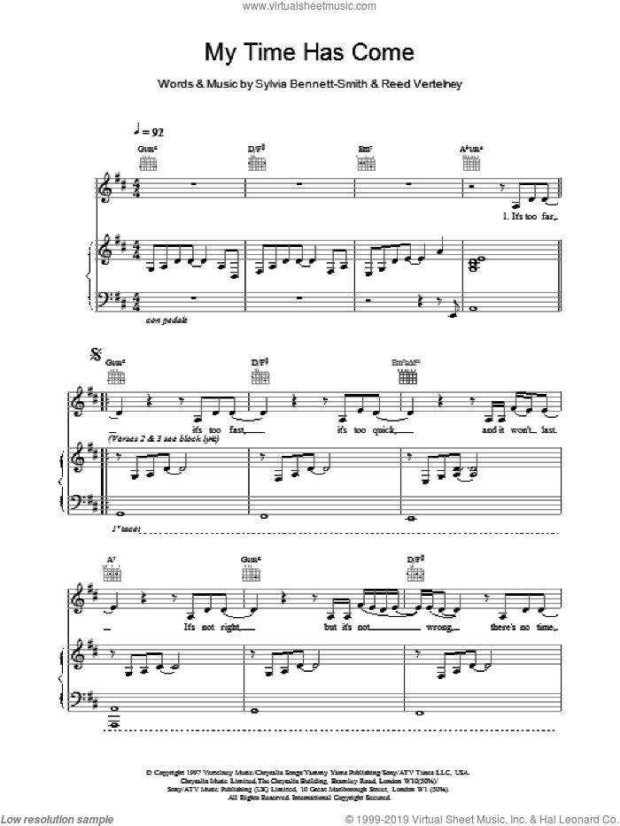 My Time Has Come sheet music for voice, piano or guitar by Destiny's Child, intermediate skill level