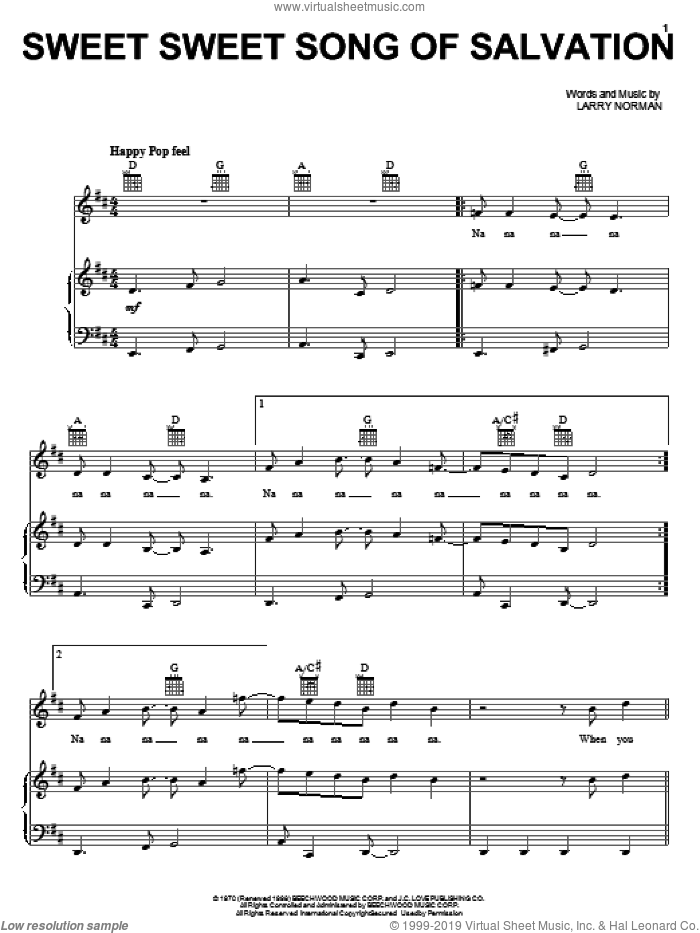 Sweet Sweet Song Of Salvation sheet music for voice, piano or guitar by Larry Norman. Score Image Preview.