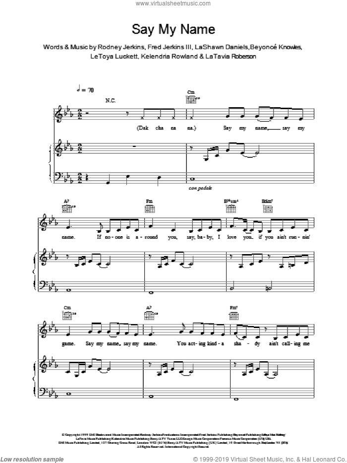 Say My Name sheet music for voice, piano or guitar by Destiny's Child, intermediate skill level