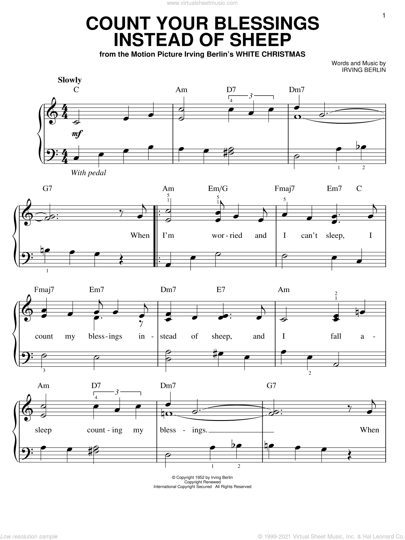 Count Your Blessings Instead Of Sheep, (easy) sheet music for piano solo by Irving Berlin, Bing Crosby, Eddie Fisher, Rosemary Clooney and White Christmas (Musical), easy skill level