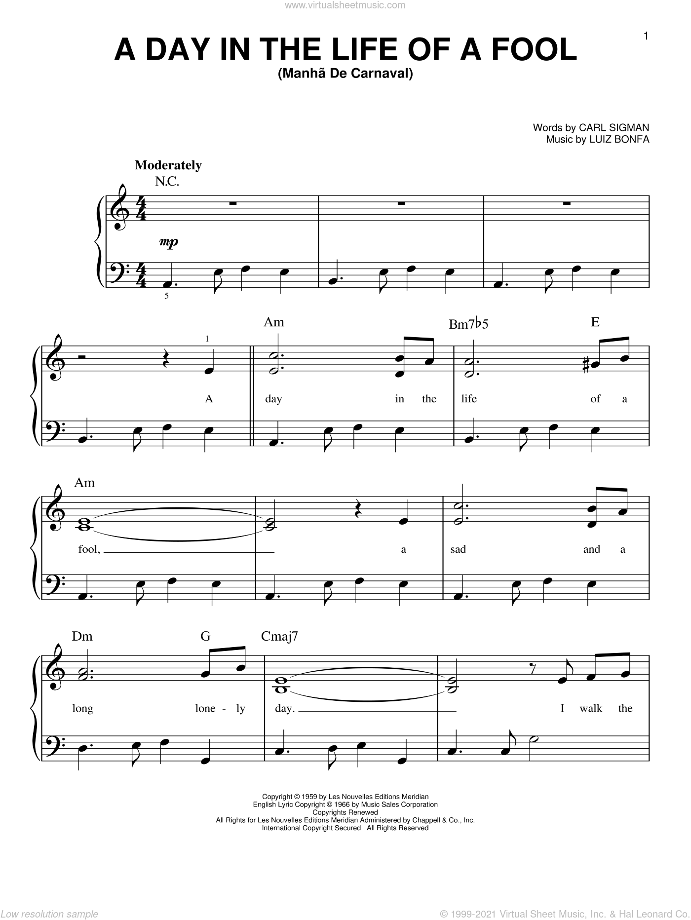 A Day In The Life Of A Fool (Manha De Carnaval) sheet music for piano solo by Carl Sigman and Luiz Bonfa, easy piano. Score Image Preview.