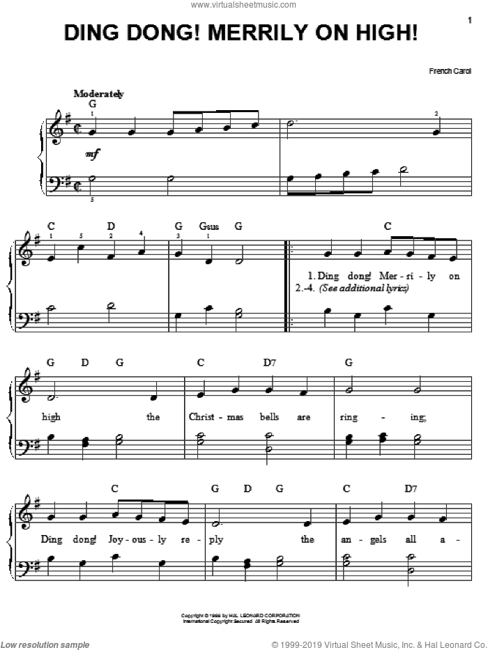 Ding Dong! Merrily On High! sheet music for piano solo (chords)