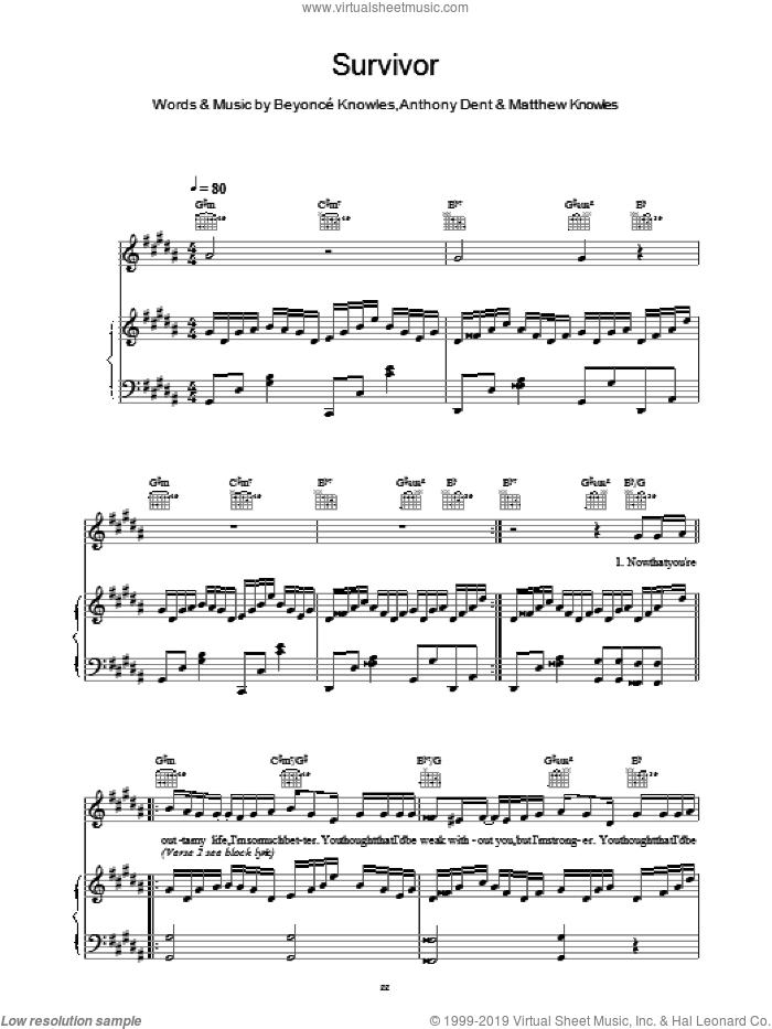Survivor sheet music for voice, piano or guitar by Destiny's Child, intermediate skill level