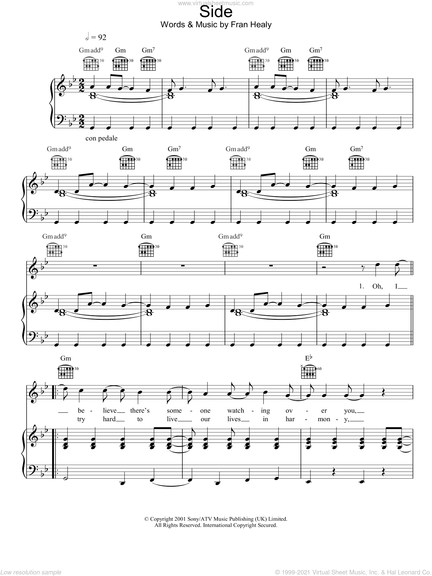 Side sheet music for voice, piano or guitar by Merle Travis, intermediate voice, piano or guitar. Score Image Preview.