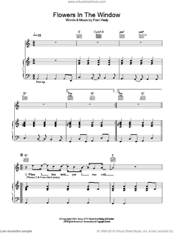 Flowers In The Window sheet music for voice, piano or guitar by Merle Travis, intermediate. Score Image Preview.