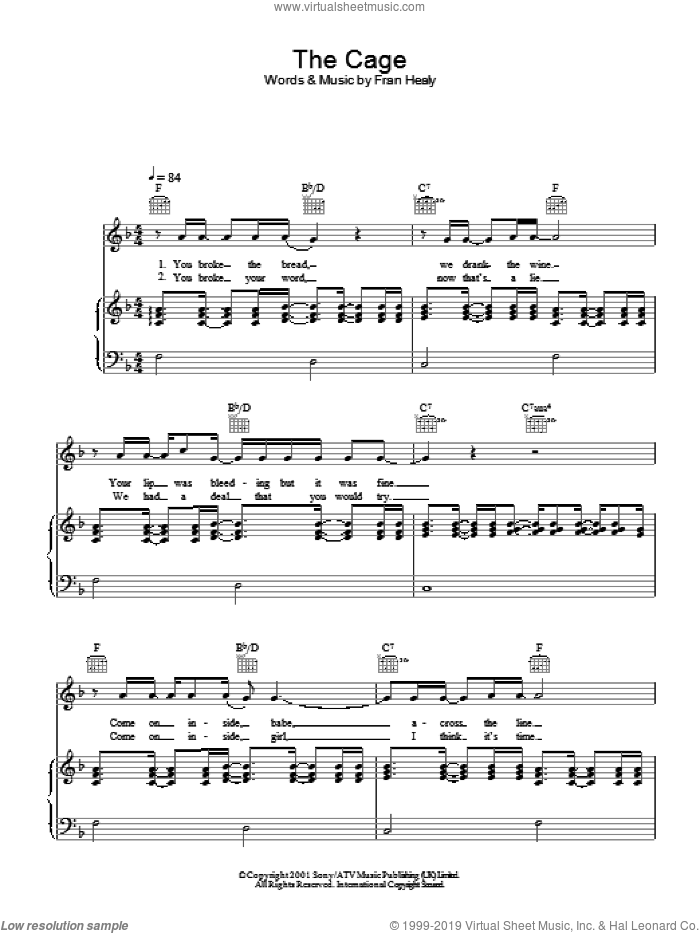 The Cage sheet music for voice, piano or guitar by Merle Travis. Score Image Preview.
