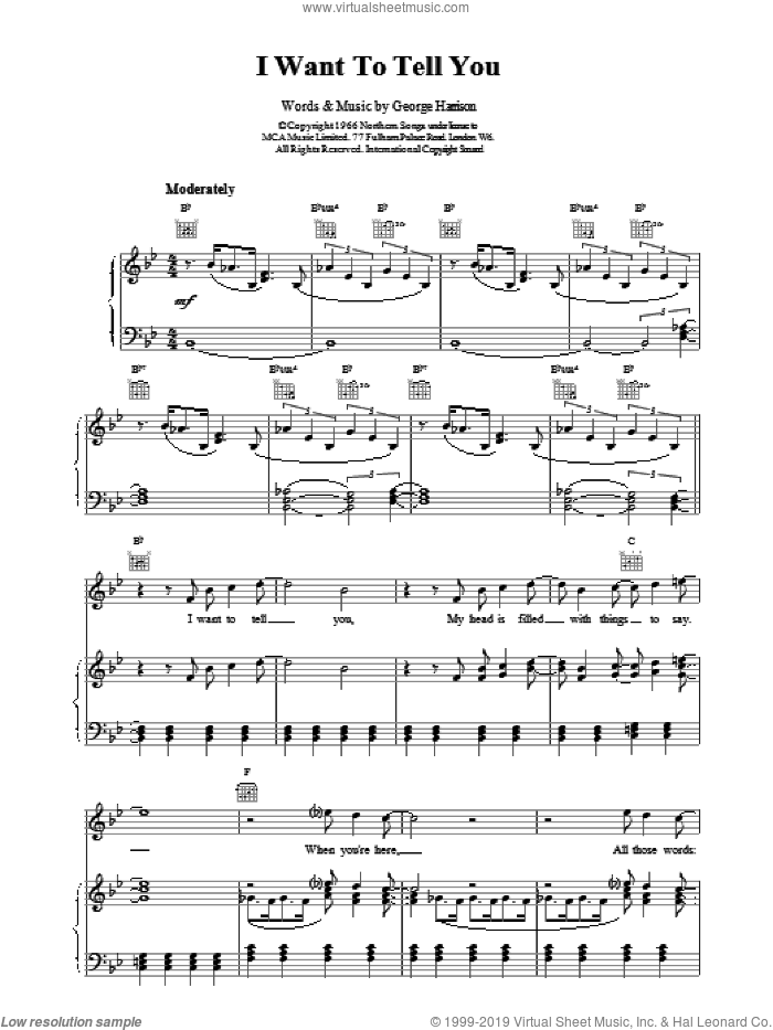 I Want To Tell You sheet music for voice, piano or guitar by The Beatles. Score Image Preview.