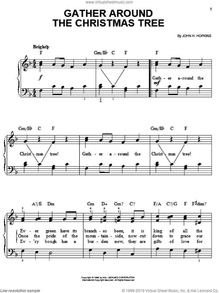 Gather Around The Christmas Tree sheet music for piano solo by John H. Hopkins, easy. Score Image Preview.