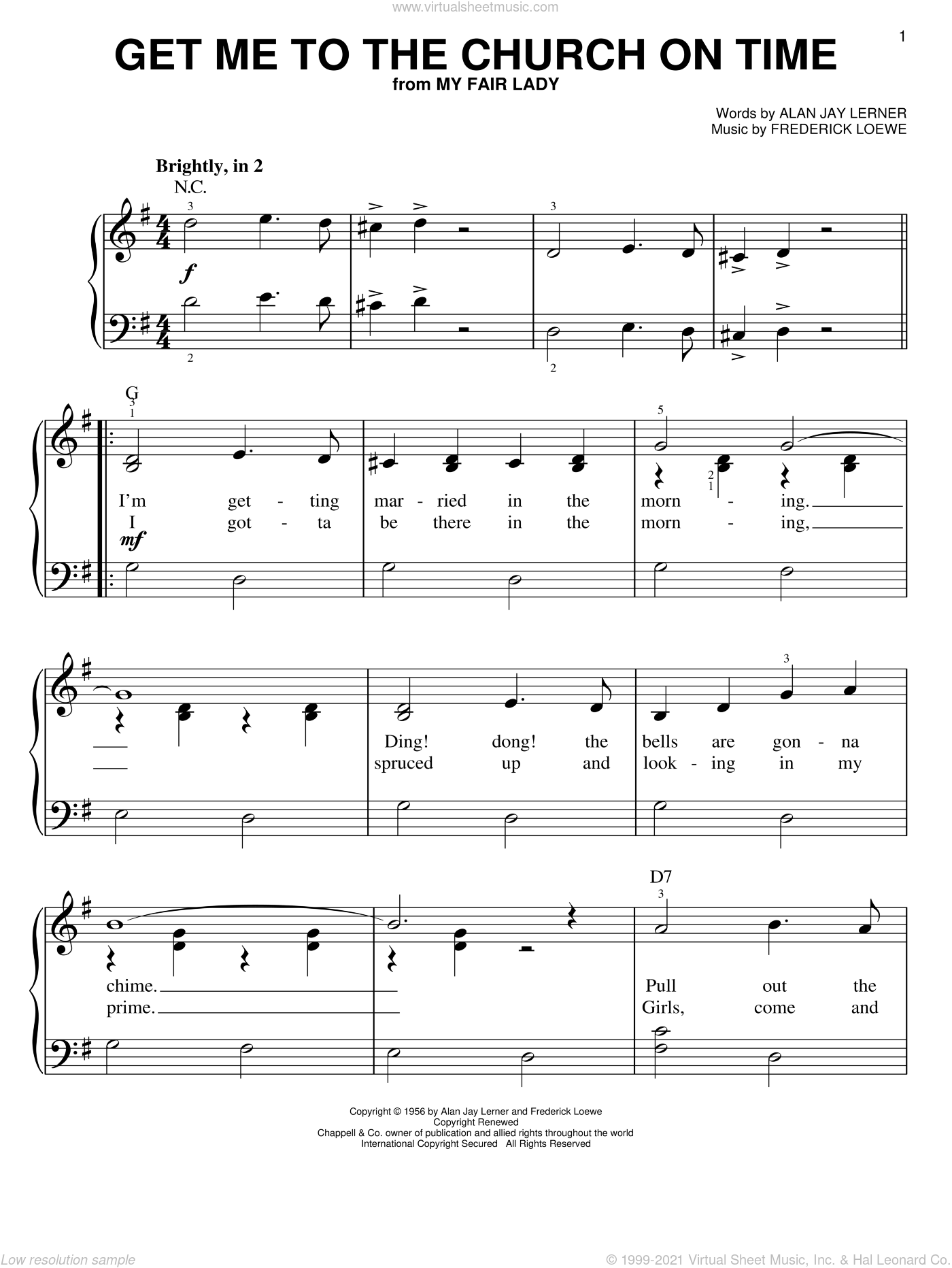 Get Me To The Church On Time sheet music for piano solo by Frederick Loewe