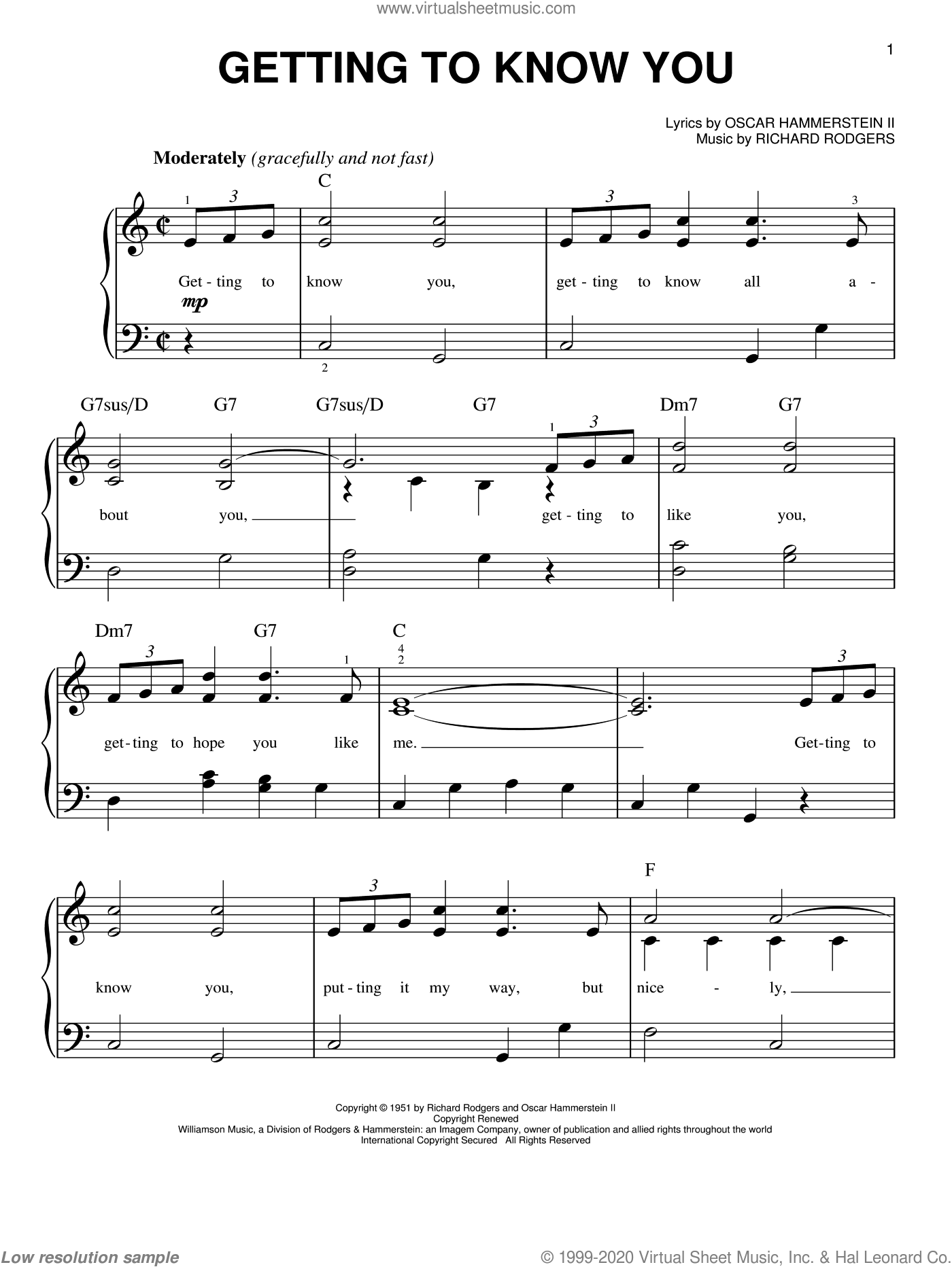 Getting To Know You sheet music for piano solo by Rodgers & Hammerstein, Oscar II Hammerstein and Richard Rodgers, easy. Score Image Preview.