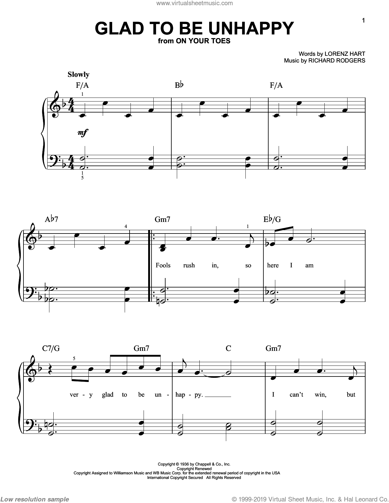 Glad To Be Unhappy sheet music for piano solo (chords) by Richard Rodgers