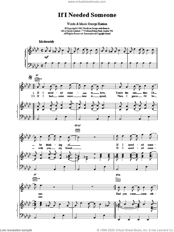If I Needed Someone sheet music for voice, piano or guitar by George Harrison and The Beatles. Score Image Preview.
