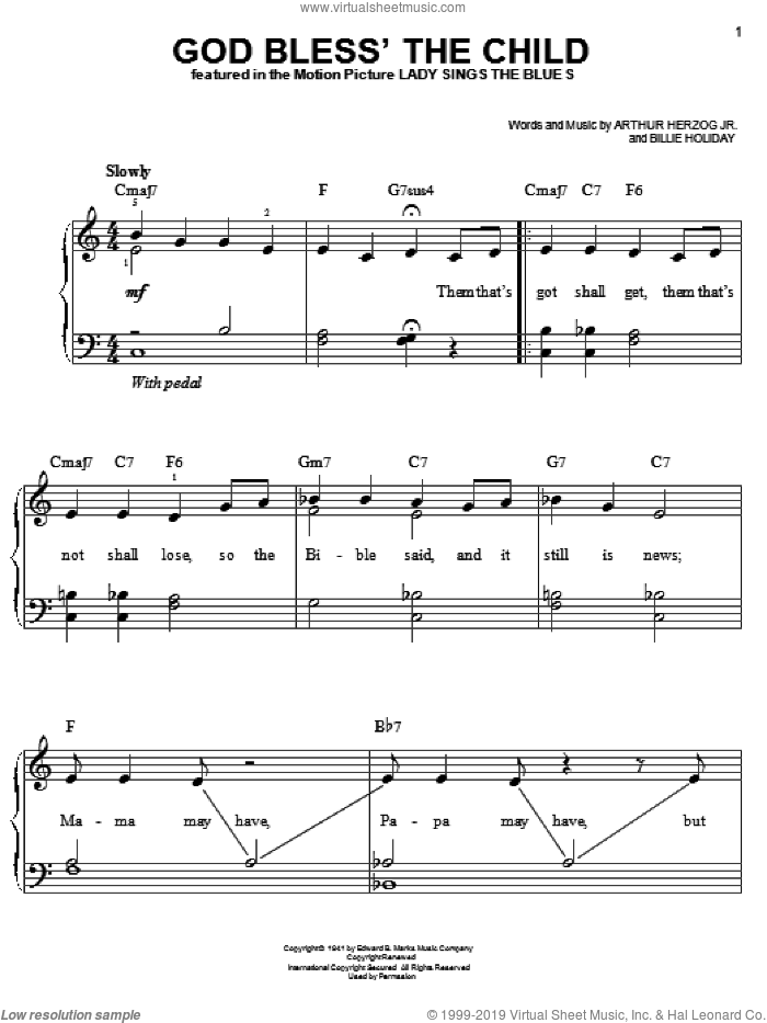 God Bless' The Child sheet music for piano solo by Billie Holiday and Arthur Herzog Jr., easy skill level
