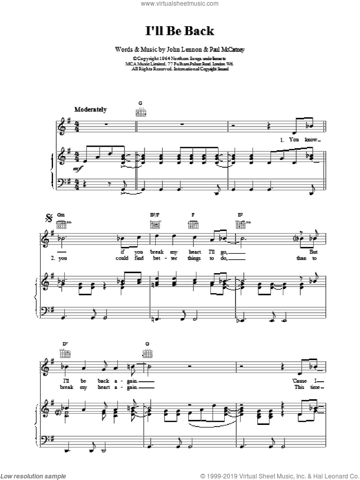 I'll Be Back sheet music for voice, piano or guitar by The Beatles