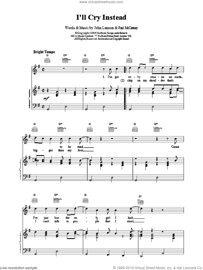 I'll Cry Instead sheet music for voice, piano or guitar by The Beatles