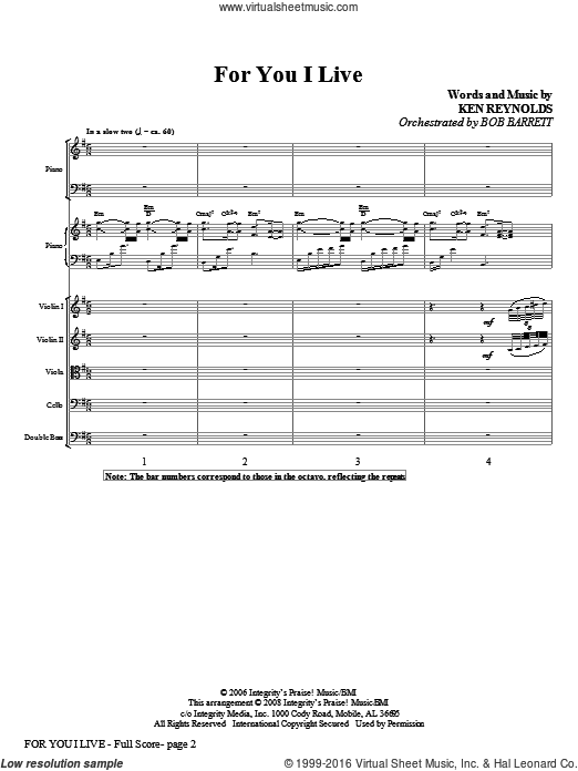 For You I Live (COMPLETE) sheet music for orchestra by Ken Reynolds. Score Image Preview.