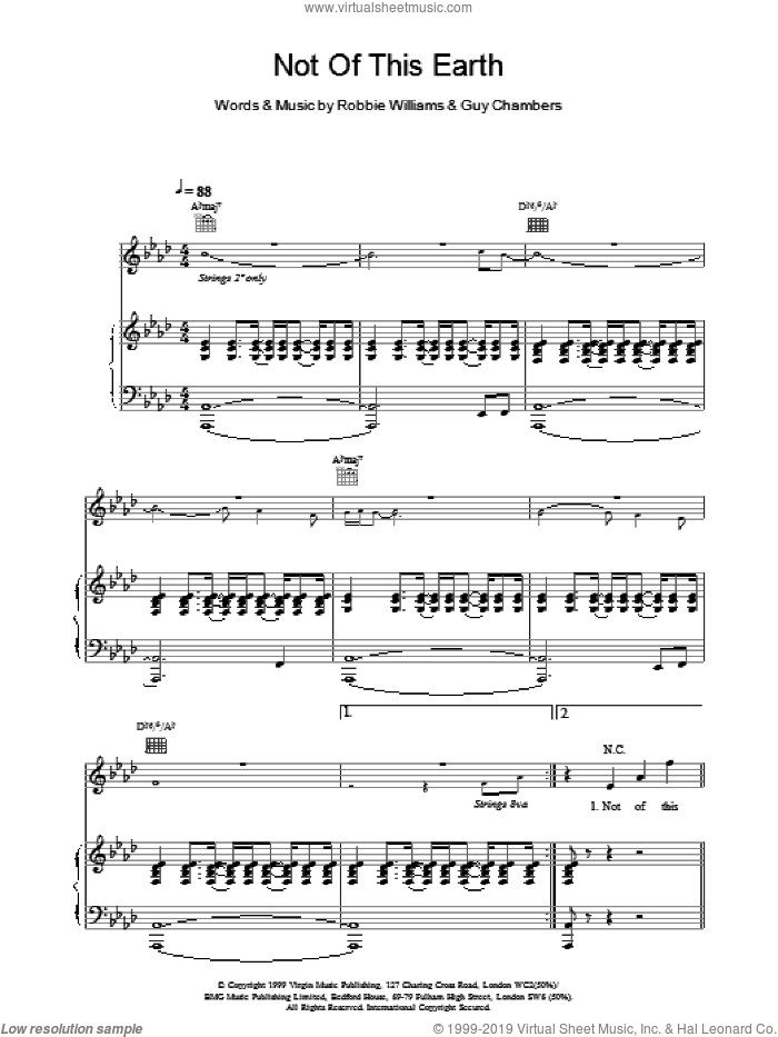 Not Of This Earth sheet music for voice, piano or guitar by Robbie Williams, intermediate skill level