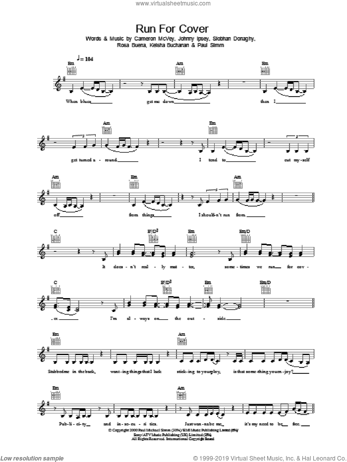 Run For Cover sheet music for voice and other instruments (fake book) by Sugababes. Score Image Preview.