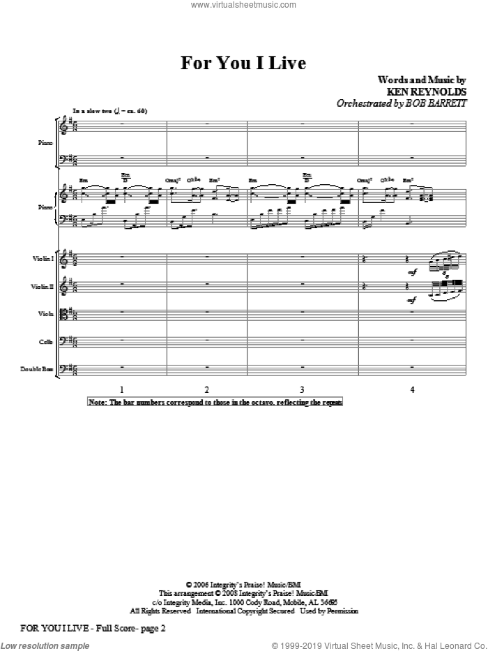 For You I Live (COMPLETE) sheet music for orchestra/band (Orchestra) by Ken Reynolds, intermediate skill level