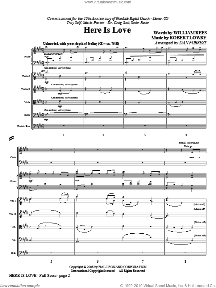 Here Is Love (COMPLETE) sheet music for orchestra/band (Special) by Robert Lowry, William Rees and Dan Forrest, intermediate. Score Image Preview.