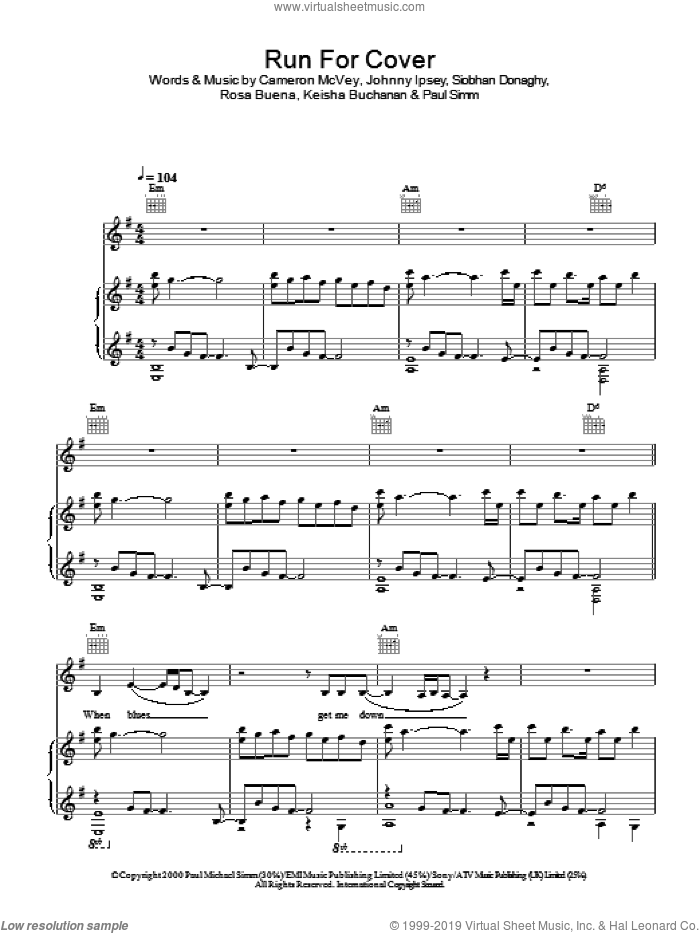 Run For Cover sheet music for voice, piano or guitar by Sugababes. Score Image Preview.