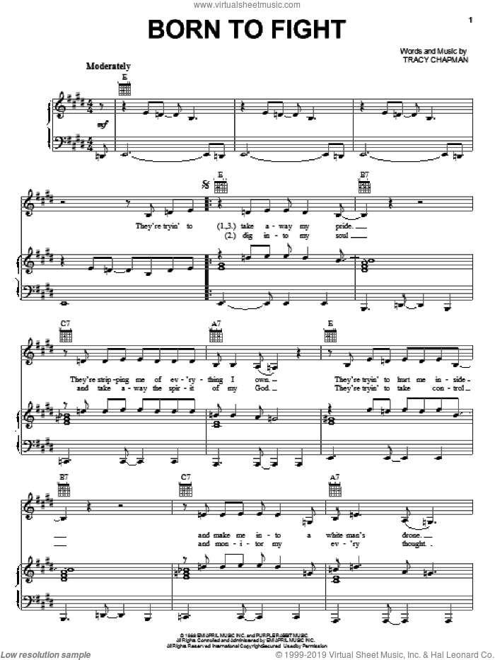 Born To Fight sheet music for voice, piano or guitar by Tracy Chapman, intermediate. Score Image Preview.