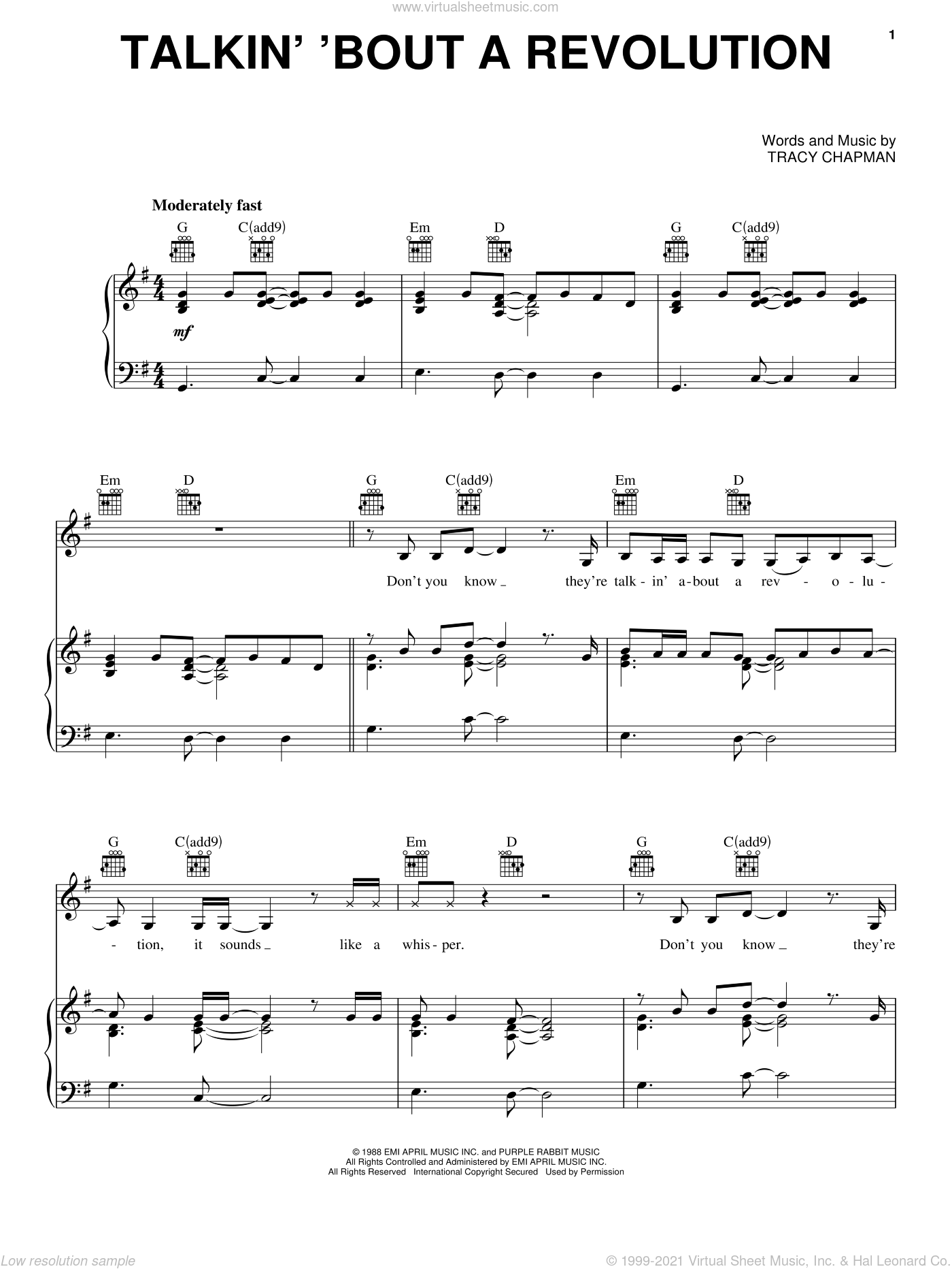 Talkin' Bout A Revolution sheet music for voice, piano or guitar by Tracy Chapman. Score Image Preview.