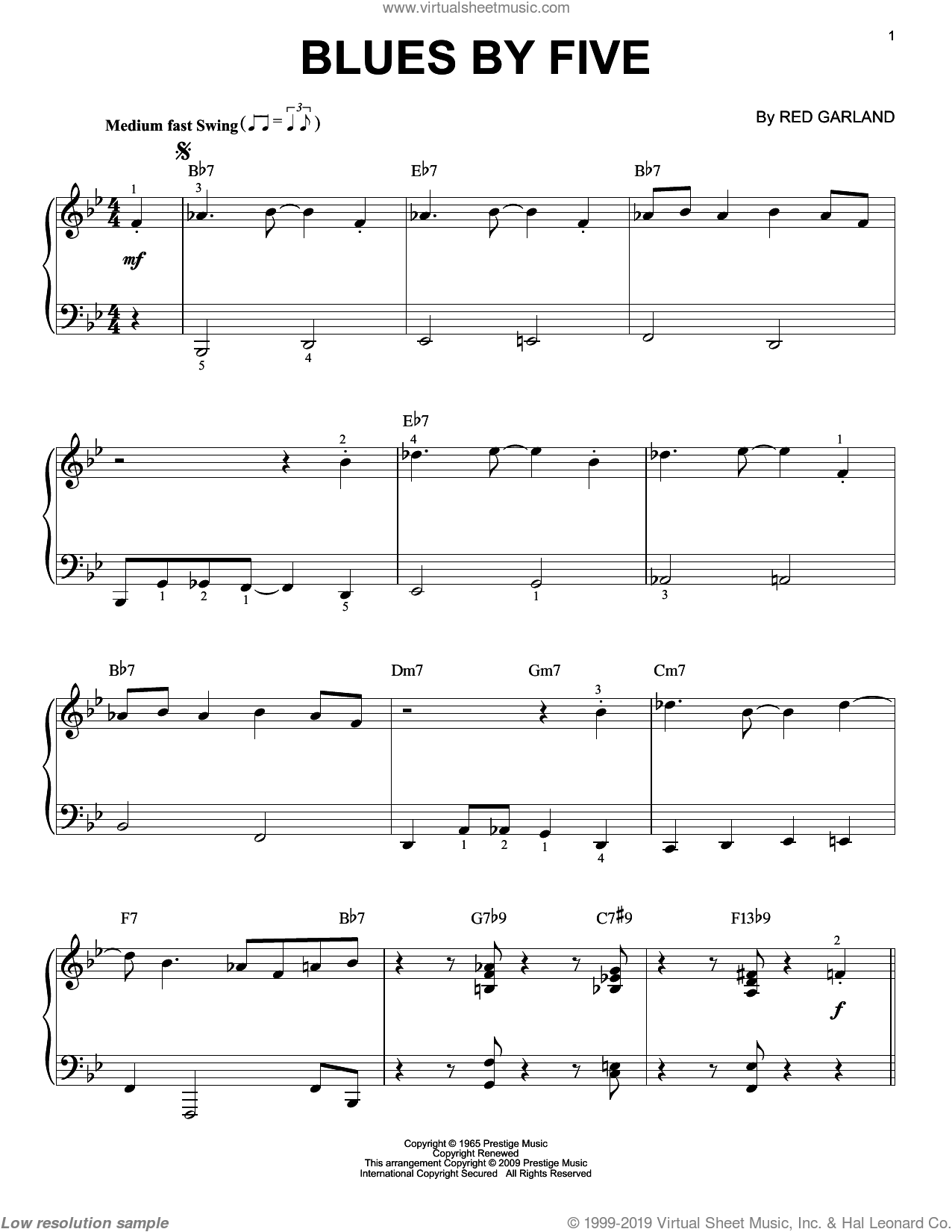 Blues By Five sheet music for piano solo by Miles Davis and Red Garland, intermediate skill level