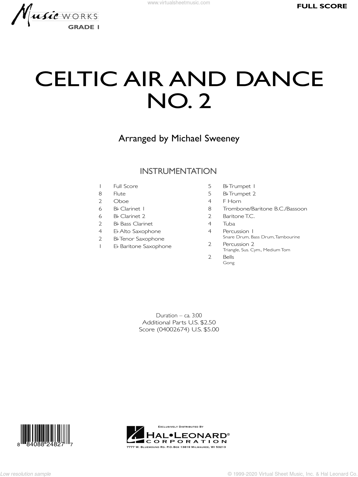 Celtic Air and Dance No. 2 sheet music for concert band (full score) by Michael Sweeney