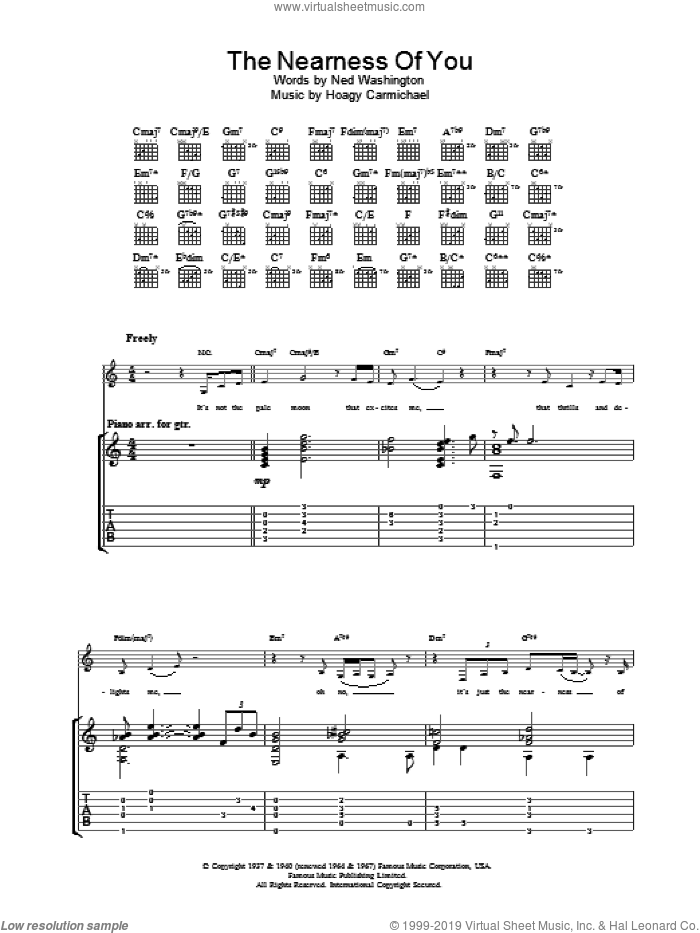 The Nearness Of You sheet music for guitar solo (tablature) by Ned Washington