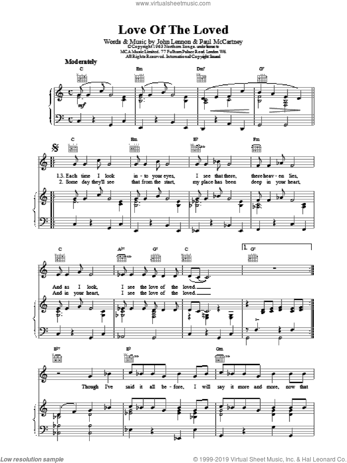 Love Of The Loved sheet music for voice, piano or guitar by The Beatles. Score Image Preview.